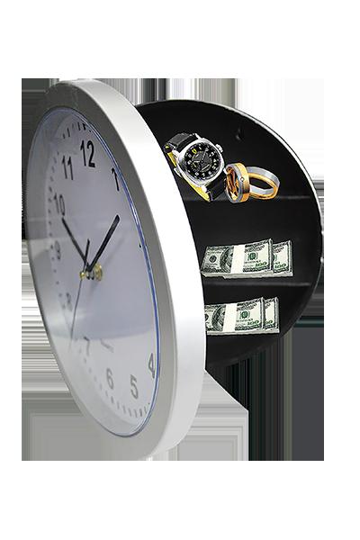 caja de seguridad forma de reloj